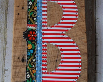 Patchwork Tin Wall Art - Large Letter