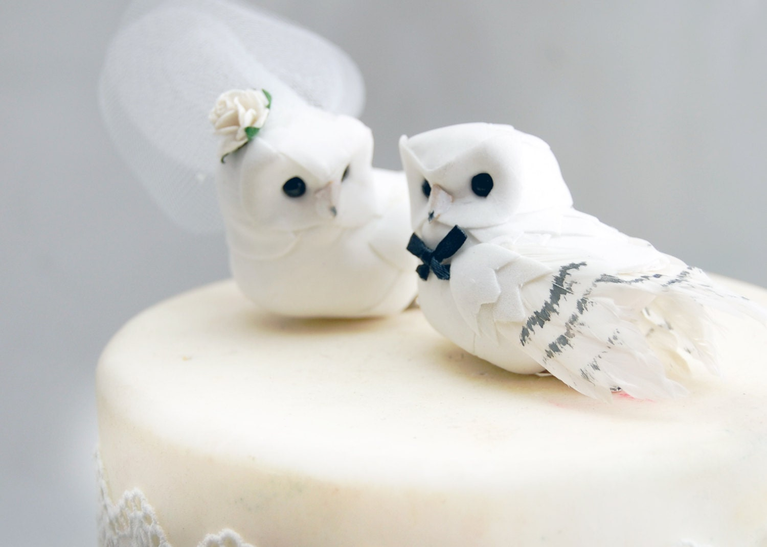 Snowy Owl Wedding Cake Topper In Winter White Bride Groom