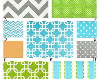 Turquoise, Aqua, Lime and Orange Custom Crib Baby Bedding You Design