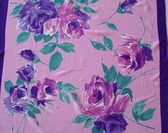 Vintage Rose Scarf Silky Radiant Orchid Lavender Purple Design 1980s