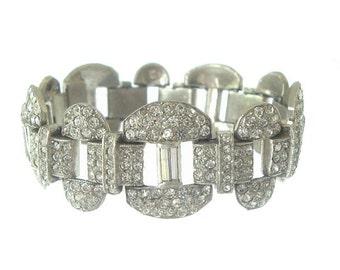 Vintage Art Deco Bracelet, Statement Rhinestone Cuff, 1920s Antique Bridal Jewelry, Art Deco Wedding Jewellery