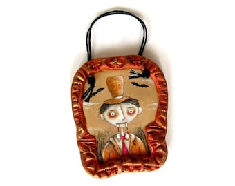 Clarence - an original hand painted spooky Halloween ornament
