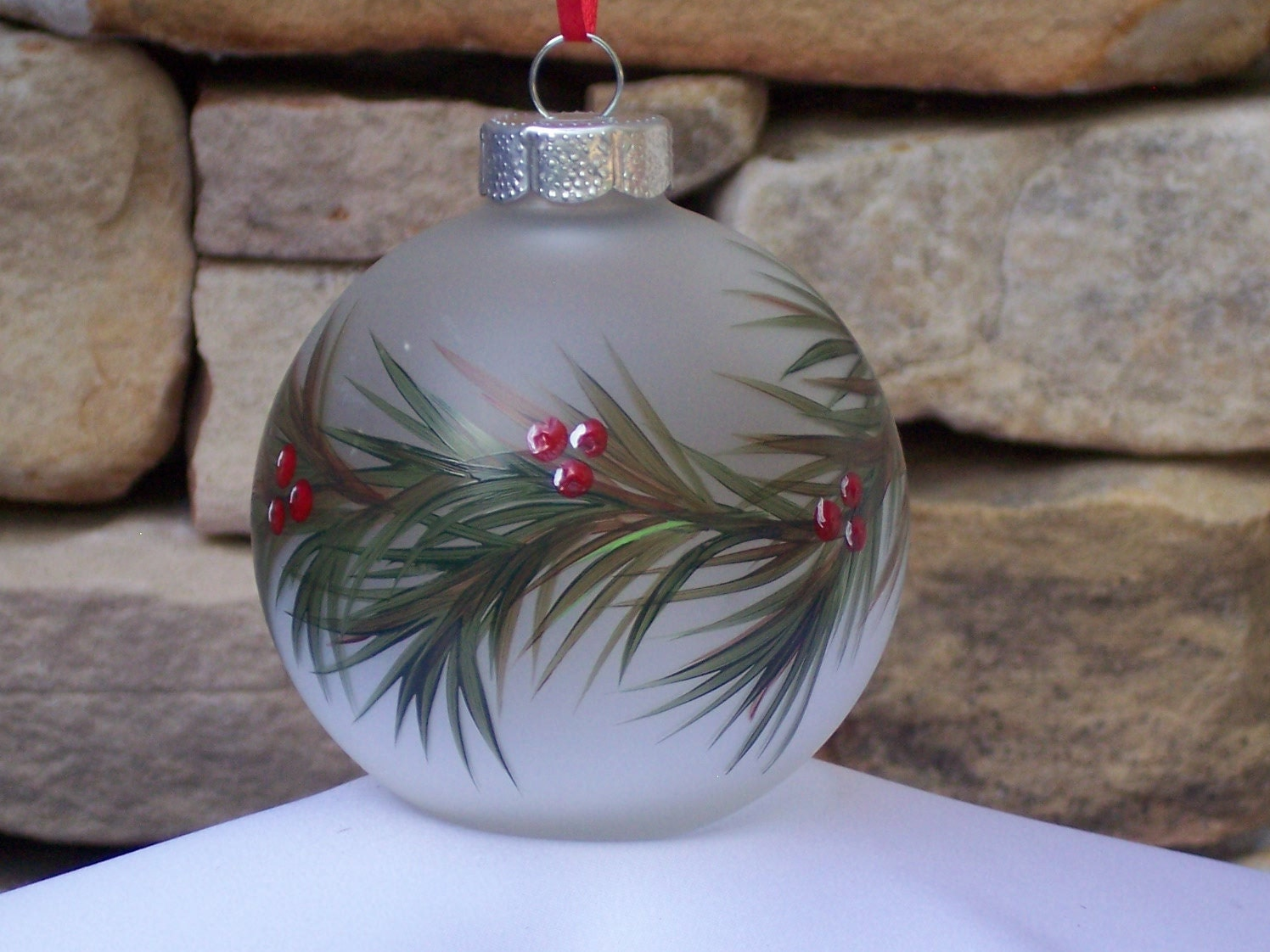 Hand Painted Glass Christmas Ornament with Green by ...