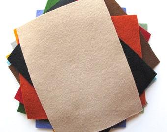 Felt Sheets - Primitive Shades - 100% Merino Wool Felt - Twelve 6 x 8 Inch Sheets - Assortment - DIY Supply