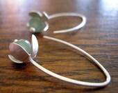 Silver flower earrings. Hand-cut sterling silver flower earrings with green aventurine.