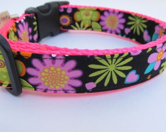 """Cute Girl Dog Collar """"Vintage Flower Girl"""" Cute Flowers Hearts Pink Green Yellow Turquoise Hot Pink Nylon Webbing"""