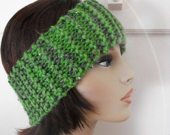 Woman's Head Band  Hand Knit Soft Donegal Blend Wool Green
