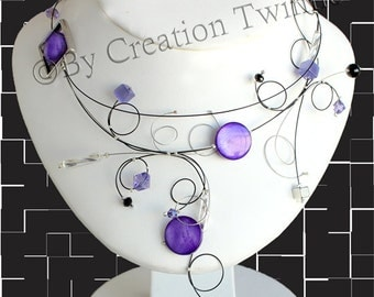 bridal jewelry,modern purple necklace,statement necklace, funky necklace,gift for her,bridesmaid gift,unusual jewelry, wedding jewelry