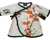 Cherry Blossom Dress - Girls Dress - Red Dress - Asian Clothing - Wrap Dress - Kimono Dress - Long Sleeve Dress - size - 2t - 3t