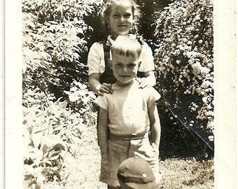 Vintage Photo Sweetness Abounds Adorable Children In The Garden Snapshot Photograph