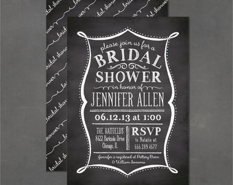 Printable Bridal Shower Invite - Chalkboard Invitation, Vintage Lettering, DIY print your own party invitation