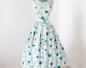 on HOLD vintage 1950's dress ...fabulous SACONY cotton atomic starburst novelty print rhinestone bust full skirt pin-up party dress