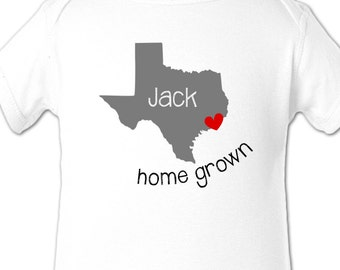 Texas home state shirt - personalized childrens home state Texas Tshirt or bodysuit