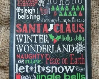 Christmas Chalkboard Style Word Art Tags #401