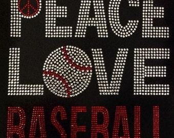 Rhinestone Peave Love Baseball T-Shirt - Bling Shirt - Sports, High School, College, Spirit Shirt