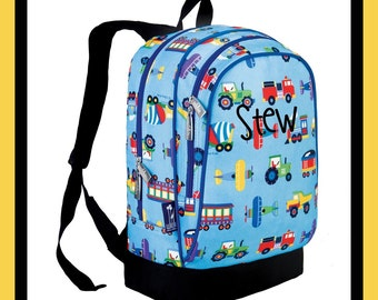 Monogram Backpack and Lunch Bag Set - Wildkin - Personalized - Planes Trains - Back to School Elementary