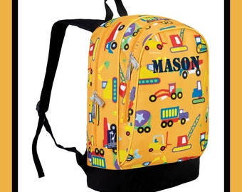 Monogram Backpack and Lunch Bag Set - Wildkin - Personalized - Construction - Back to School Elementary