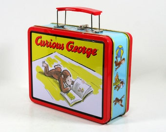 Vintage Curious George Lunch Box Turquoise Red Yellow