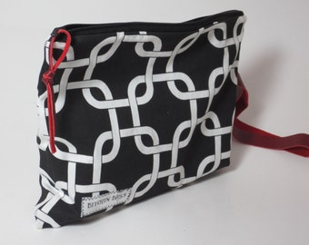 Black and White Clutch - Geometric Clutch - Leather Strap - Clutch with Leather wristlet