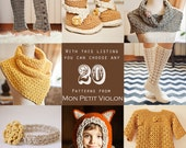 You choose any 20 patterns (crochet or knitting patterns)