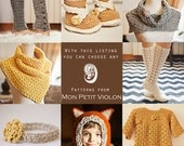 You choose any 9 patterns (crochet and knitting patterns)