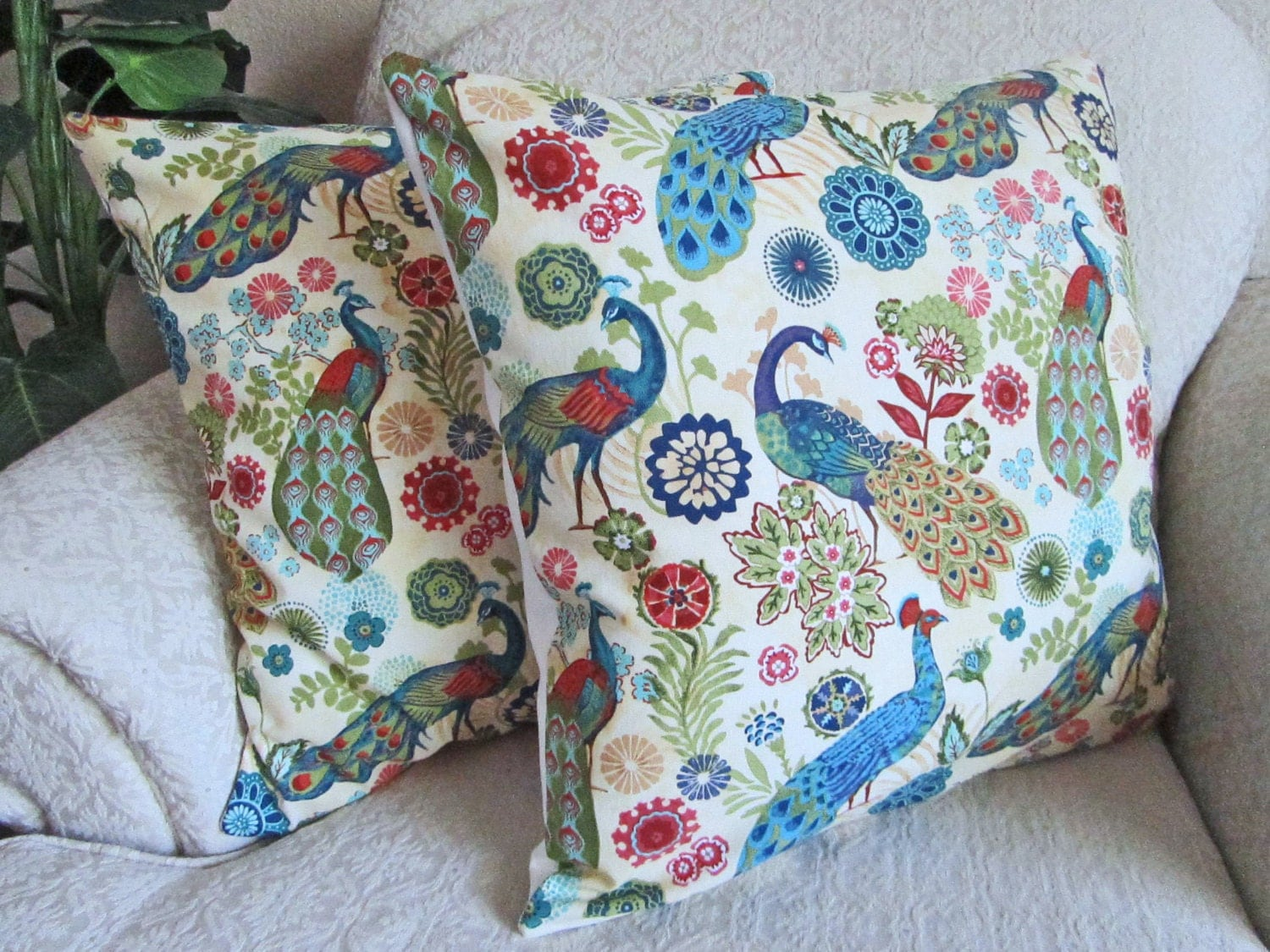 Blue Peacock Pillow Covers Decorative Bird Pillow Covers