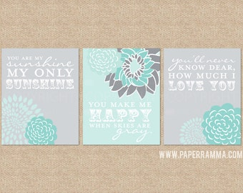 Sunshine Wall Art, You are my sunshine Prints, 3 Print Set, Custom match colors to your nursery/room // N-G03-3PS AA1