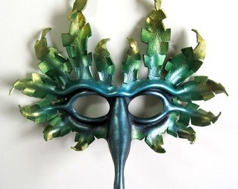 Fantasy Bird leather mask in blue, green, and gold, peacock, bird of paradise, Halloween
