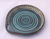 Spoon Rest in Turquoise and White - Ceramic Stoneware Pottery