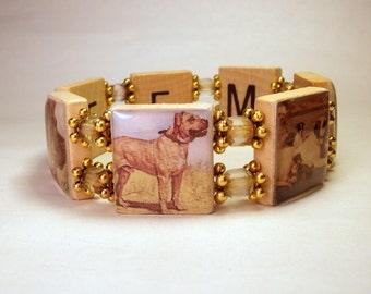 BULLMASTIFF Jewelry / Dog Lover Gift / SCRABBLE Bracelet / Upcycled