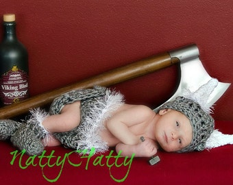 Viking hat diapercover boots baby viking set - Newborn viking costume, photo prop, crochet  baby, handmade viking hat,