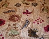 Fleece fabric - fleece remnant - TAN - flower and berry pattern- print fleece