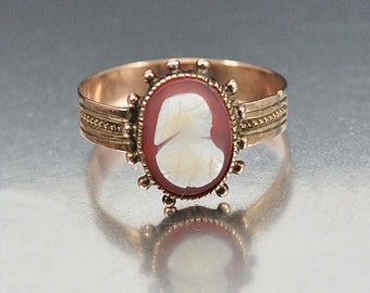 Victorian Rose Gold Cameo Ring Carved Shell Size 6 Victorian Jewelry 1800s Antique Jewelry Wide Band