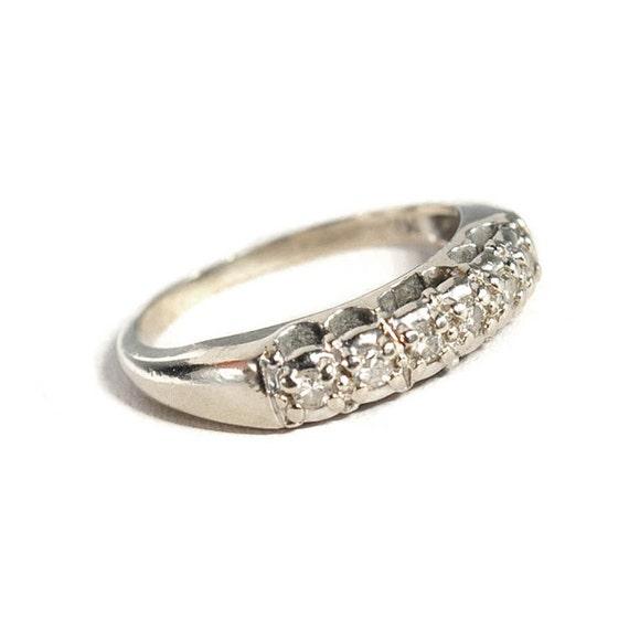 Antique Art Deco Ring 14K White Gold Wedding Band Ring Diamond