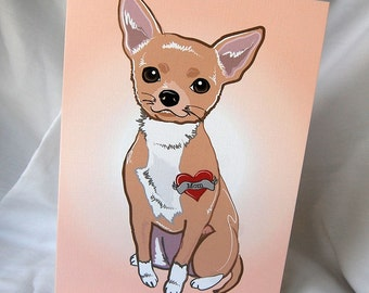 Custom Chihuahua Tattoo Greeting Card