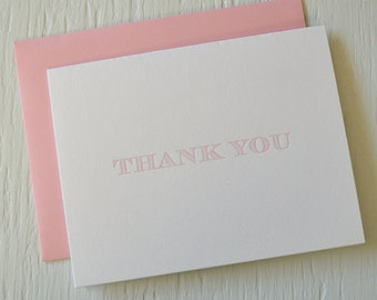Letterpress folded thank you cards - set of 12 - light pink striped serif font