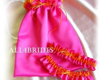 Hot pink and orange wedding bridal leg garter set and drawstring bag, wedding money dance bag, leg garters