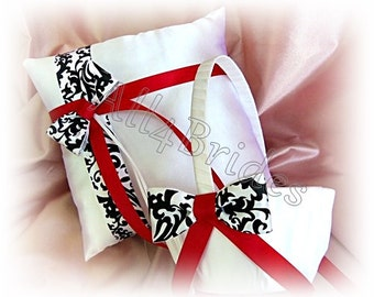 Damask and red wedding ring bearer pillow and flower girl basket, wedding ring cushion and basket set.
