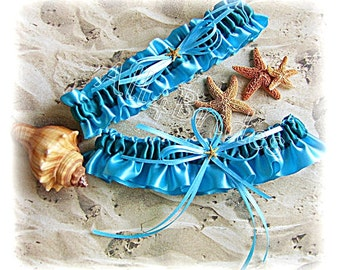 Beach Wedding Starfish Bridal Garters Turquoise and Teal, Something Blue, Bridal Keepsake and Toss Garter Set
