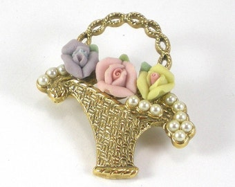Flower Basket Brooch Pin -Porcelain And Pearls Romantic