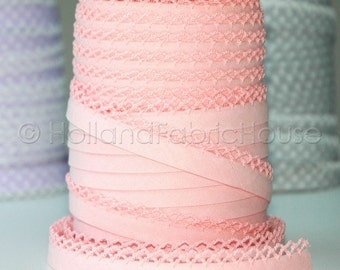 Bias Tape Baby Pink Solid Cotton and Lace - Double Fold