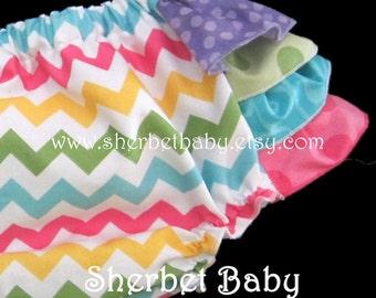 4 Ruffle Sassy Pants Ruffle Diaper Cover Bloomer Rainbow Polka Dots & Chevron