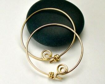 Gold Hoop Earrings, 14K Gold-Filled Medium Hoops, Original Modern Locking Design Hoop Earrings / gift under 50