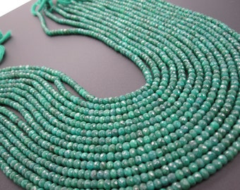 Green Emerald Beads, Faceted Rondelles, 4mm, May Birthstone, SKU 3292
