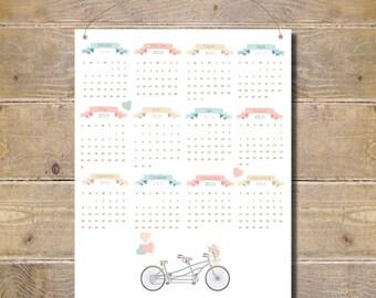 Wall Calendar .  2015  Calendar . Calendar 2015 . Office Calendar .  Calendar - Dainty Bicycle
