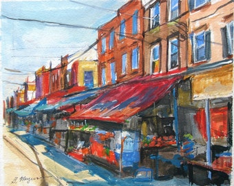 Philadelphia Art Painting 9th Street Italian Market Fine Art  Print 8x10, from Watercolor Red Rust Blue Painting by Gwen Meyerson