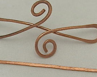 Copper HAIR Barrette Pin, Celtic Twist Pin, Barrette Hair Pin -  Shawl Closure Pin.