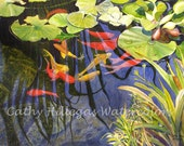 Koi Fish Art Watercolor Painting Print by Cathy Hillegas, 16x21, lily pad, fish pond, orange, red, yellow, blue, green, koi watercolor,