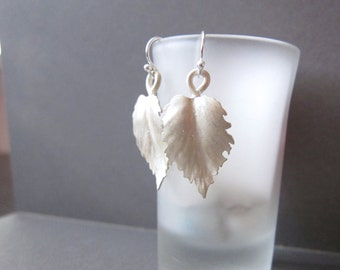 Leaf Earrings, Sterling Silver Earrings, Matte Metal, Organic Metalwork Eco Friendly, Contemporary Jewelry by CuteJewels