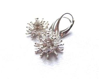 Sterling Silver Earrings, Dangle earrings, Matte White Silver, Leverback earwires, simple earrings, Modern Jewelry by CuteJewels